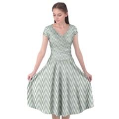Vintage Pattern Chevron Cap Sleeve Wrap Front Dress by Nexatart