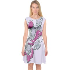 Bouquet Flowers Plant Purple Capsleeve Midi Dress