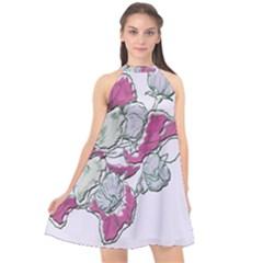 Bouquet Flowers Plant Purple Halter Neckline Chiffon Dress  by Nexatart