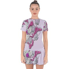 Bouquet Flowers Plant Purple Drop Hem Mini Chiffon Dress by Nexatart