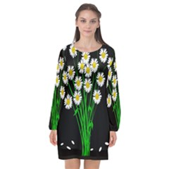 Bouquet Geese Flower Plant Blossom Long Sleeve Chiffon Shift Dress