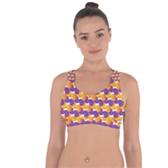 Pattern Background Purple Yellow Cross String Back Sports Bra by Nexatart