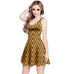 Chevron Brown Retro Vintage Reversible Sleeveless Dress