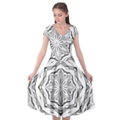 Mandala Pattern Floral Cap Sleeve Wrap Front Dress