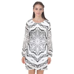 Mandala Pattern Floral Long Sleeve Chiffon Shift Dress  by Nexatart