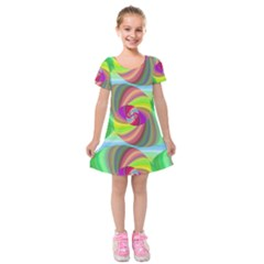 Seamless Pattern Twirl Spiral Kids  Short Sleeve Velvet Dress