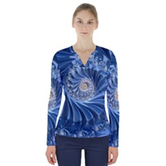 Blue Fractal Abstract Spiral V Neck Long Sleeve Top
