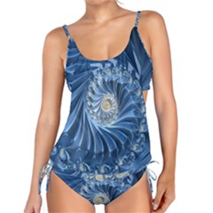 Blue Fractal Abstract Spiral Tankini Set by Nexatart