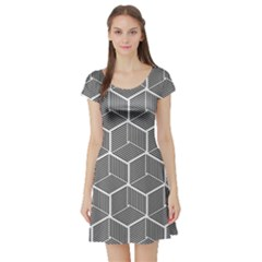 Cube Pattern Cube Seamless Repeat Short Sleeve Skater Dress