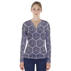 Cube Pattern Cube Seamless Repeat V Neck Long Sleeve Top by Nexatart