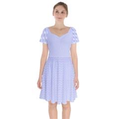 Zigzag Chevron Thin Pattern Short Sleeve Bardot Dress