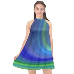 Space Design Abstract Sky Storm Halter Neckline Chiffon Dress  by Nexatart