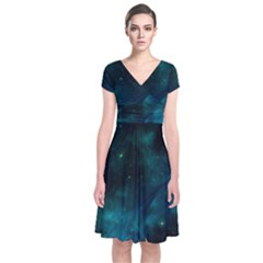 Space All Universe Cosmos Galaxy Short Sleeve Front Wrap Dress