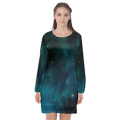 Space All Universe Cosmos Galaxy Long Sleeve Chiffon Shift Dress  by Nexatart