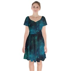 Space All Universe Cosmos Galaxy Short Sleeve Bardot Dress by Nexatart