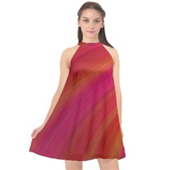 Abstract Red Background Fractal Halter Neckline Chiffon Dress  by Nexatart