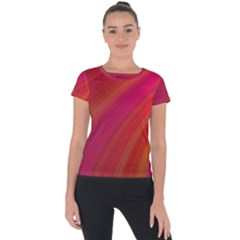 Abstract Red Background Fractal Short Sleeve Sports Top  by Nexatart