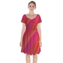 Abstract Red Background Fractal Short Sleeve Bardot Dress