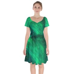 Green Space All Universe Cosmos Galaxy Short Sleeve Bardot Dress