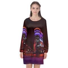 Moscow Night Lights Evening City Long Sleeve Chiffon Shift Dress