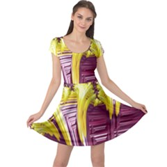 Yellow Magenta Abstract Fractal Cap Sleeve Dress