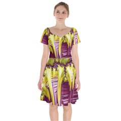 Yellow Magenta Abstract Fractal Short Sleeve Bardot Dress by Nexatart