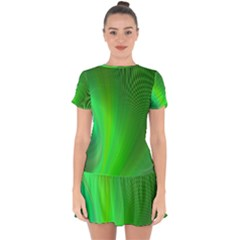 Green Background Abstract Color Drop Hem Mini Chiffon Dress by Nexatart