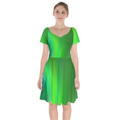 Green Background Abstract Color Short Sleeve Bardot Dress by Nexatart