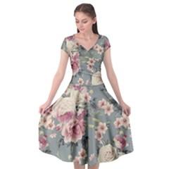 Pink Flower Seamless Design Floral Cap Sleeve Wrap Front Dress by Nexatart