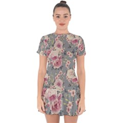 Pink Flower Seamless Design Floral Drop Hem Mini Chiffon Dress by Nexatart