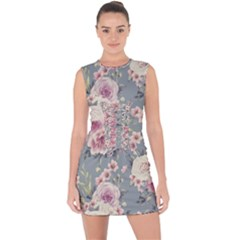 Pink Flower Seamless Design Floral Lace Up Front Bodycon Dress