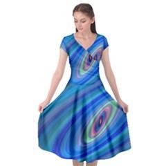 Oval Ellipse Fractal Galaxy Cap Sleeve Wrap Front Dress by Nexatart