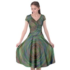 Spiral Spin Background Artwork Cap Sleeve Wrap Front Dress by Nexatart