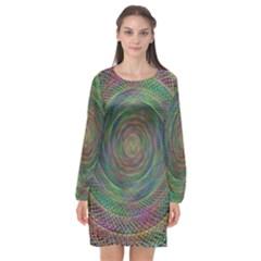 Spiral Spin Background Artwork Long Sleeve Chiffon Shift Dress