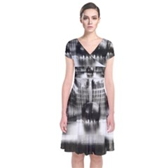 Black And White Hdr Spreebogen Short Sleeve Front Wrap Dress