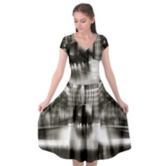 Black And White Hdr Spreebogen Cap Sleeve Wrap Front Dress by Nexatart