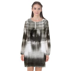 Black And White Hdr Spreebogen Long Sleeve Chiffon Shift Dress  by Nexatart