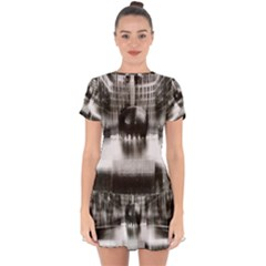 Black And White Hdr Spreebogen Drop Hem Mini Chiffon Dress by Nexatart