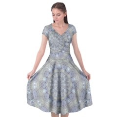 Flower Lace In Decorative Style Cap Sleeve Wrap Front Dress by pepitasart