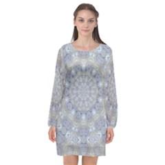 Flower Lace In Decorative Style Long Sleeve Chiffon Shift Dress  by pepitasart
