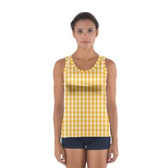 Pale Pumpkin Orange And White Halloween Gingham Check Sport Tank Top  by PodArtist