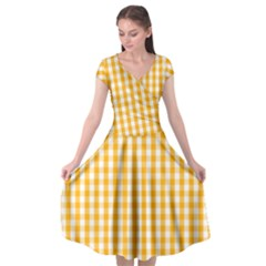 Pale Pumpkin Orange And White Halloween Gingham Check Cap Sleeve Wrap Front Dress by PodArtist