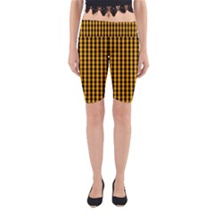 Pale Pumpkin Orange And Black Halloween Gingham Check Yoga Cropped Leggings by PodArtist