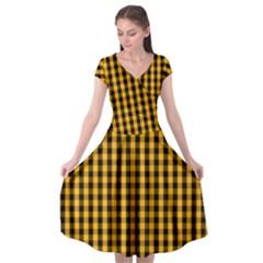 Pale Pumpkin Orange And Black Halloween Gingham Check Cap Sleeve Wrap Front Dress by PodArtist
