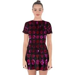 Circles1 Black Marble & Burgundy Marble Drop Hem Mini Chiffon Dress by trendistuff