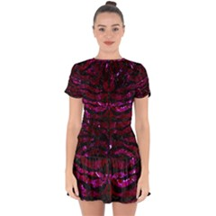 Skin2 Black Marble & Burgundy Marble (r) Drop Hem Mini Chiffon Dress by trendistuff