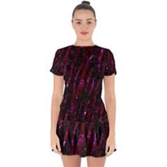 Skin3 Black Marble & Burgundy Marble Drop Hem Mini Chiffon Dress by trendistuff