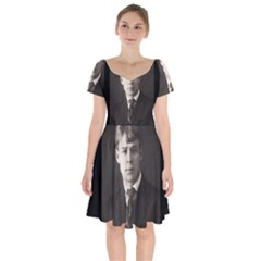 Sergei Yesenin Short Sleeve Bardot Dress by Valentinaart