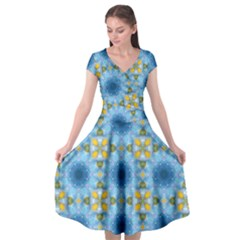 Blue Nice Daisy Flower Ang Yellow Squares Cap Sleeve Wrap Front Dress by MaryIllustrations