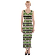 Fancy Tribal Border Pattern 17a Fitted Maxi Dress by MoreColorsinLife